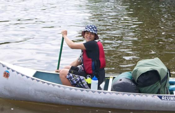 Dat N in bow leaving on canoe trip